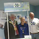 Volunteers at Argyl Street Surgery, Pembroke Dock with mayor .